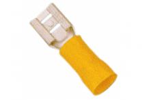 Conector Faston hembra tamaño 6,3x0,8mm 4,0-6,0mm² UE 100 pzs aislam. PVC Cu gal Sn amarillo
